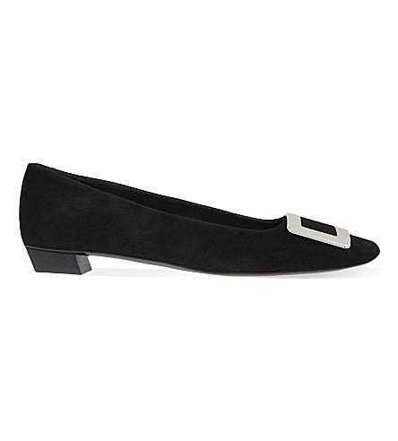 ROGER VIVIER 美女 Vivier 绒面革芭蕾舞演员平底鞋 (黑色
