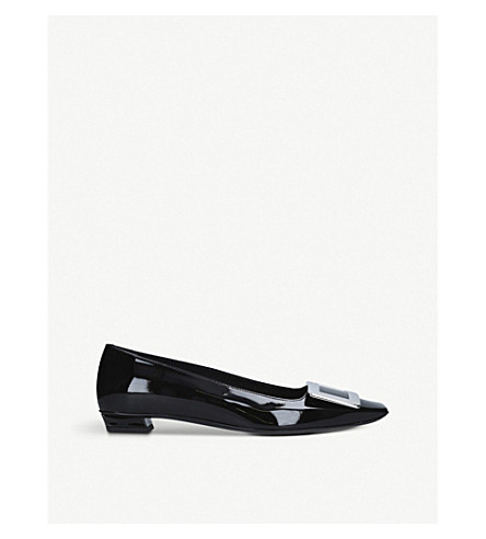 ROGER VIVIER Belle Vivier patent leather ballerina flats (Black