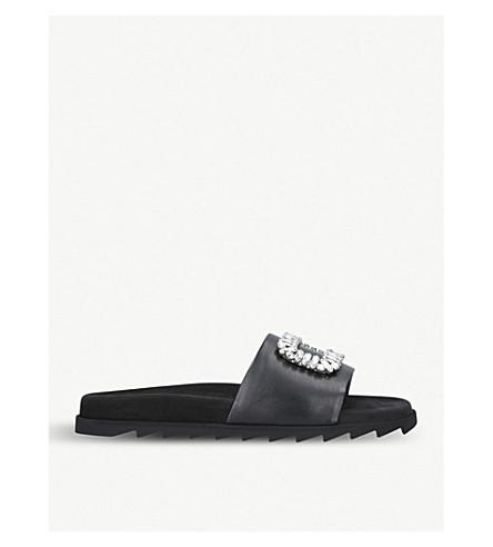 ROGER VIVIER Strass brooch-embellished leather sliders (Black
