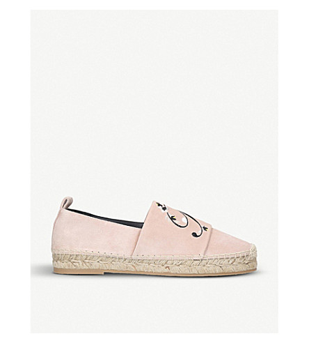 ROGER VIVIER Flowers embroidered suede espadrilles (Pale+pink