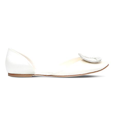 ROGER VIVIER Chips Strass silk ballerina flats (White