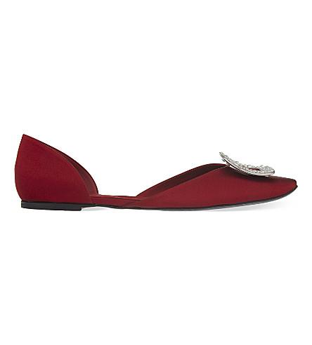 ROGER VIVIER 芯片 Strass 真丝芭蕾舞演员平底鞋 (红色