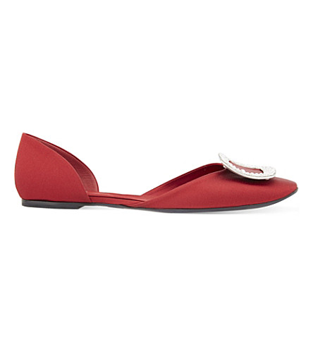 ROGER VIVIER Chips silk-satin ballerina flats (Red/dark