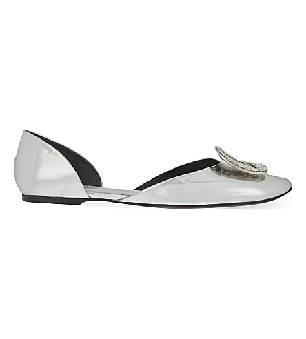 ROGER VIVIER Chip Strass leather ballerina flats (Silver+com