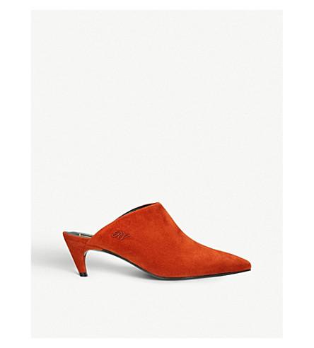 ROGER VIVIER 巧克力真正的绒面革穆勒鞋 (铁锈