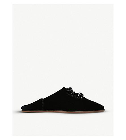 ROGER VIVIER B+AB薇晶和亮片点缀天鹅绒穆勒鞋 (黑色
