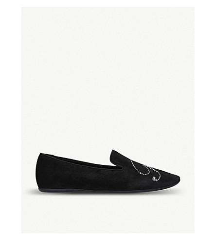 ROGER VIVIER Strass 修复程序绒面革平底鞋 (黑色