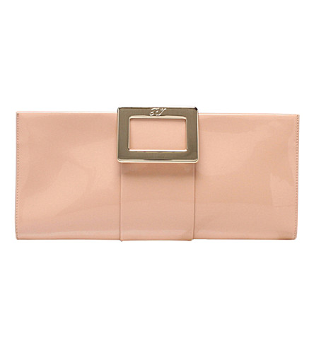 ROGER VIVIER Slim patent-leather clutch (Nude