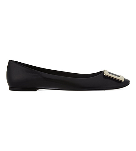 ROGER VIVIER Belle Vivier leather ballerina flats (Black
