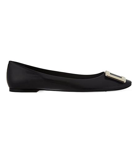 ROGER VIVIER 美女 Vivier 皮革芭蕾舞演员平底鞋 (黑色