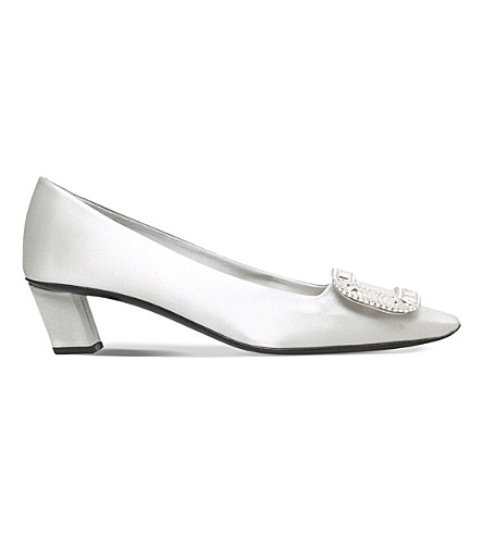 ROGER VIVIER Belle Vivier silk-satin heeled courts (Grey/light