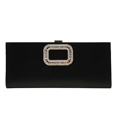 ROGER VIVIER Pilgrim silk-embellished clutch (Black