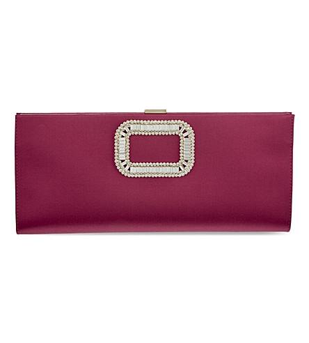 ROGER VIVIER Pilgrim silk-embellished clutch (Fushia
