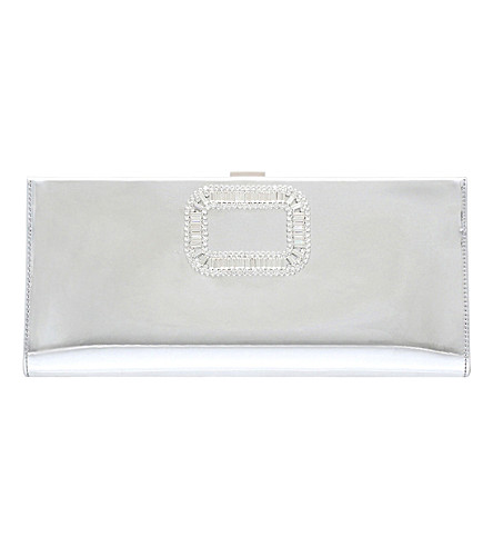 ROGER VIVIER Pilgrim mirrored leather clutch bag (Silver