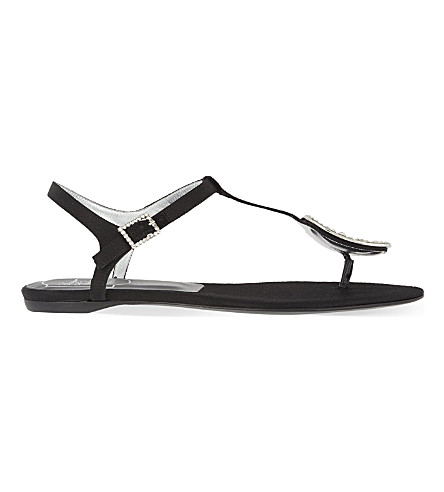 ROGER VIVIER Chips silk-satin flat sandals (Black