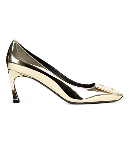 ROGER VIVIER Belle vivier patent leather courts (Gold