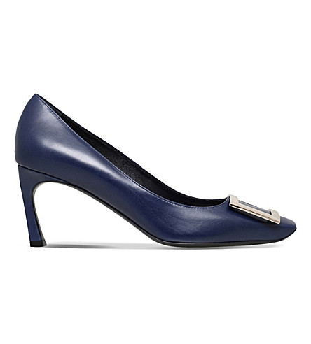 ROGER VIVIER Belle de Nuit leather heeled courts (Navy