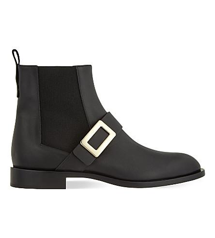 ROGER VIVIER Buckle leather chelsea boots (Black
