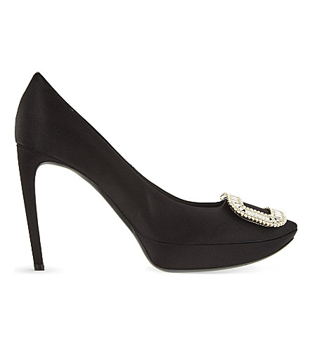 ROGER VIVIER Limelight Choc silk courts (Black