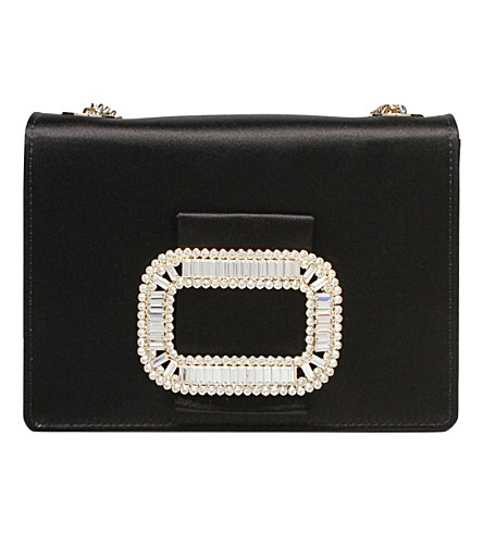 ROGER VIVIER Evening Micro silk-satin shoulder bag (Black