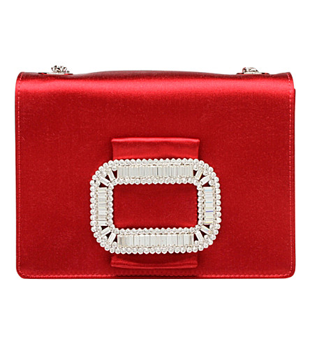 ROGER VIVIER Pilgrim micro silk bag (Red/dark