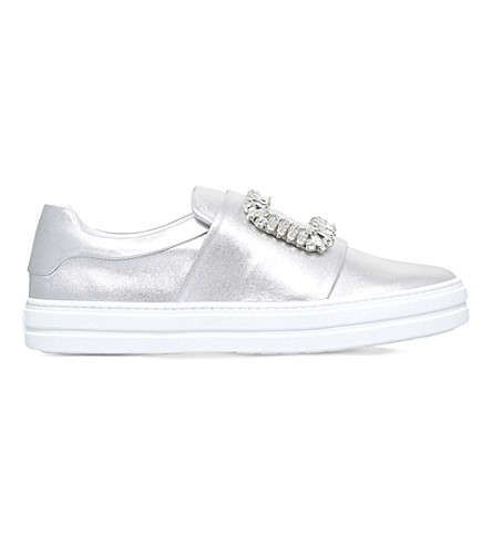 ROGER VIVIER Sneaky viv leather sneakers (Silver
