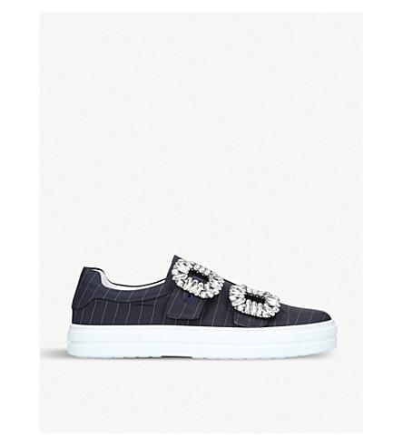 ROGER VIVIER 鬼鬼祟祟的薇 Strass 水晶点缀的条纹织物运动鞋 (海军