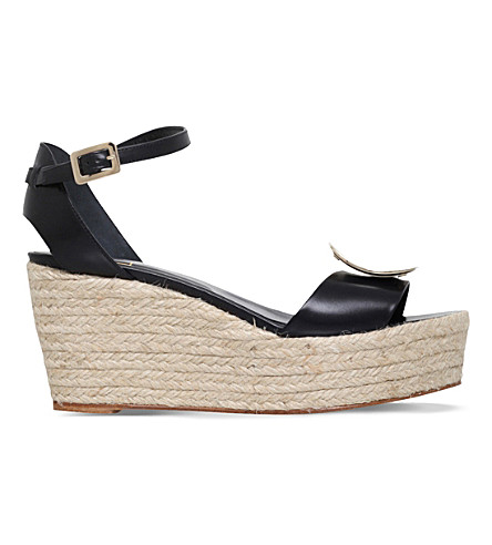 ROGER VIVIER Corda leather wedge sandals (Black