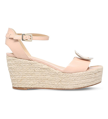 ROGER VIVIER Corda leather wedge sandals (Nude