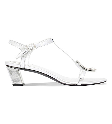 ROGER VIVIER Chips metallic-leather heeled sandals (Silver