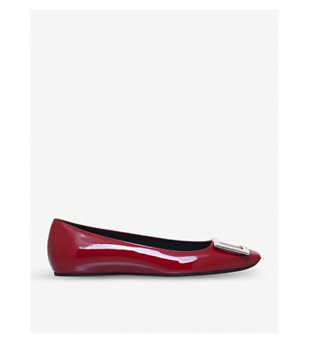ROGER VIVIER Trompette patent-leather ballet flats (Red