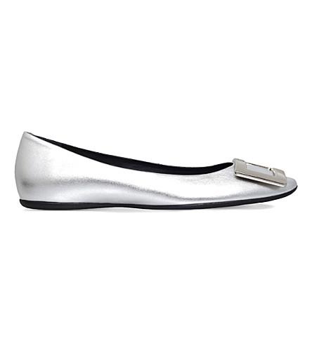 ROGER VIVIER Gommette metallic leather ballerina flats (Silver