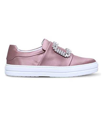 ROGER VIVIER Sneaky Viv silk-satin trainers (Pale+pink