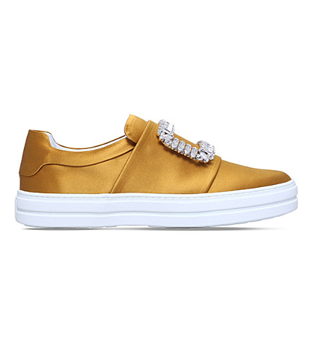 ROGER VIVIER Sneaky Viv silk trainers (Yellow