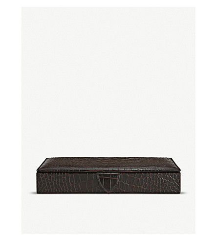 SMYTHSON Mara leather cufflink box 20cm (Brown