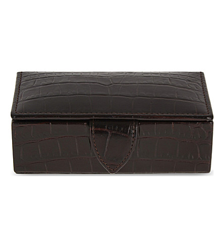 SMYTHSON Mara leather cufflink box 11cm