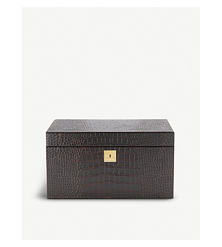 SMYTHSON Mara 3 drawer leather jewellery box (Brown