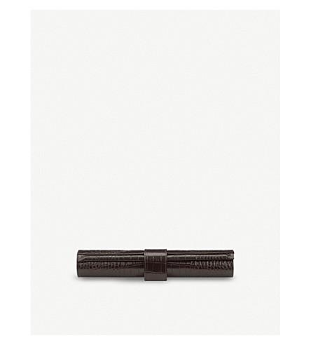 SMYTHSON Mara leather small travel backgammon roll (Brown