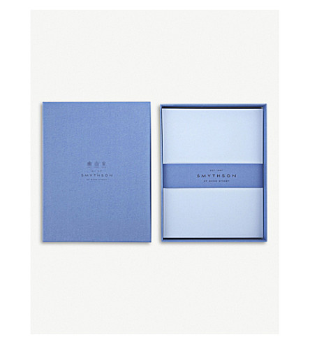 SMYTHSON Bond Street Blue King's writing paper box of 50 (Pale+blue