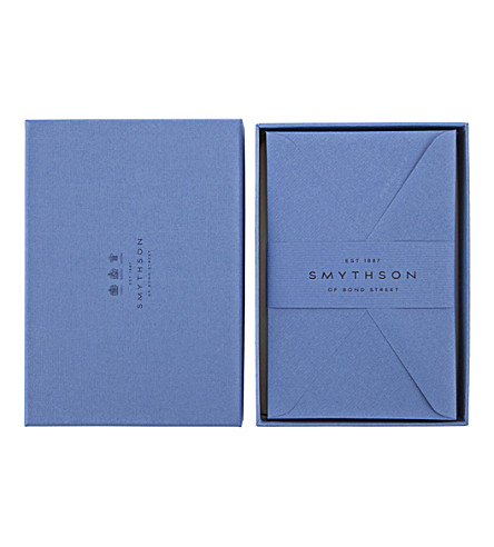 SMYTHSON Nile Blue King's envelopes box of 25 (Nile+blue