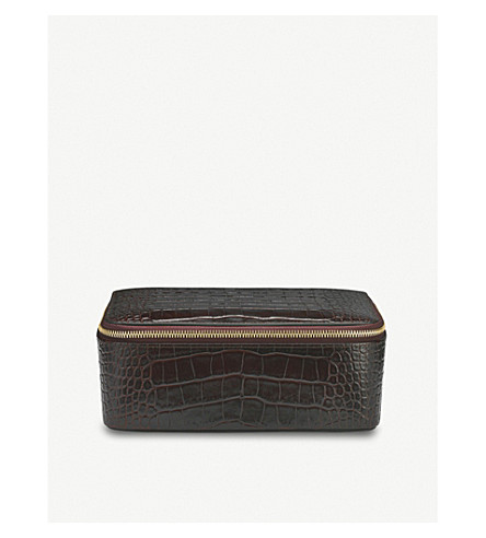 SMYTHSON Mara square leather jewellery pouch (Brown