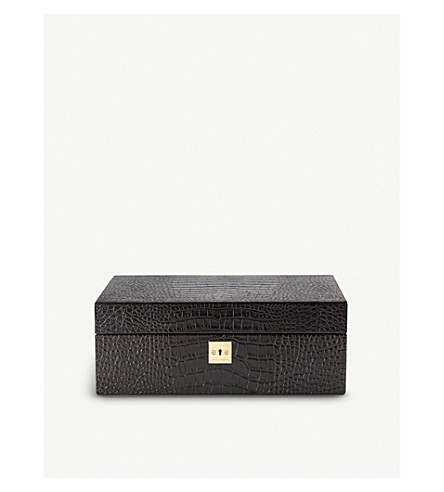 SMYTHSON Mara leather jewellery box with travel tray (Brown