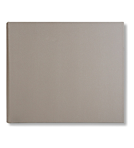 SMYTHSON Large leather guest book (Dove+grey