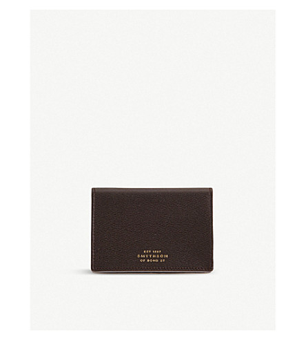 SMYTHSON Grosvenor business card holder (Brown