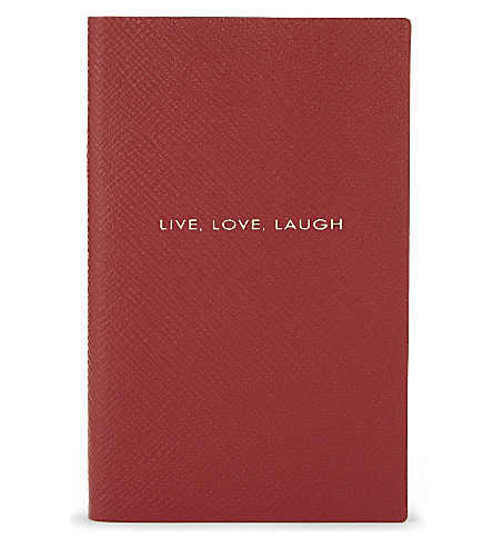 SMYTHSON Panama leather notebook 14cm (Red