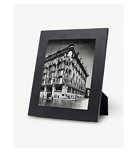 SMYTHSON Grosvenor leather photo frame large (Black