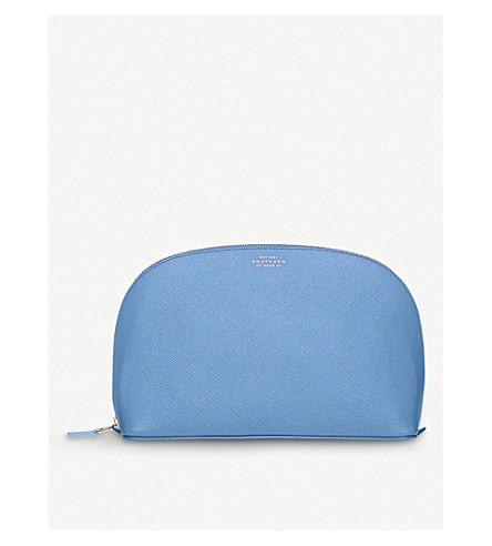 SMYTHSON Panama large grained-leather washbag (Nile+blue