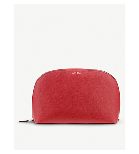 SMYTHSON Panama large grained-leather washbag (Red