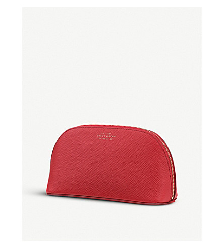 SMYTHSON Panama grained-leather cosmetics case (Red