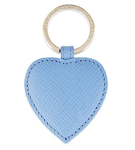 SMYTHSON Panama leather heart keyring (Nile+blue